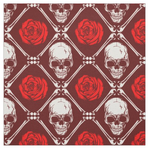 skull and roses fabric
