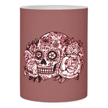 Halloween Themed Skull and Roses Flameless Candle