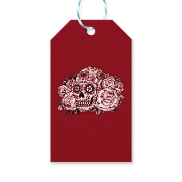 Halloween Themed Skull and Roses Gift Tags