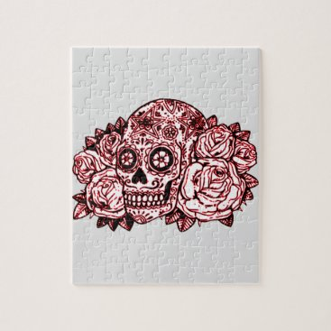 Halloween Themed Skull and Roses Jigsaw Puzzle