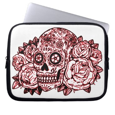 Halloween Themed Skull and Roses Laptop Sleeve