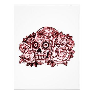 Halloween Themed Skull and Roses Letterhead