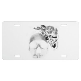Skull and roses license plate