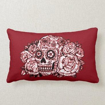 Halloween Themed Skull and Roses Lumbar Pillow