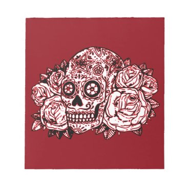 Halloween Themed Skull and Roses Notepad