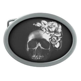 Skull and roses oval belt buckle