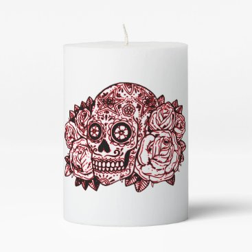 Halloween Themed Skull and Roses Pillar Candle