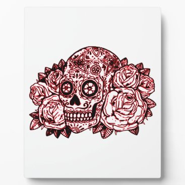 Halloween Themed Skull and Roses Plaque