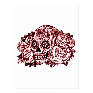 Halloween Themed Skull and Roses Postcard