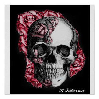 Skull and Roses Print