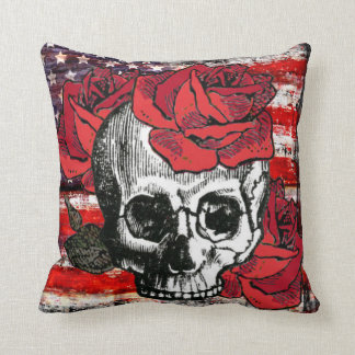 skull and roses, roses and skull, american flag throw pillow