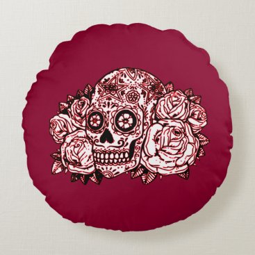 Halloween Themed Skull and Roses Round Pillow