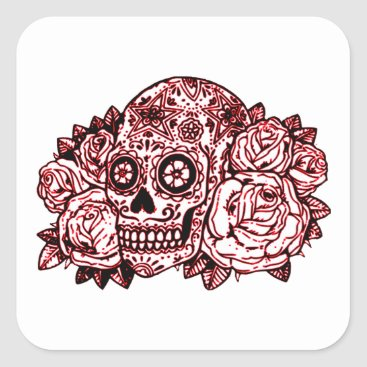 Halloween Themed Skull and Roses Square Sticker