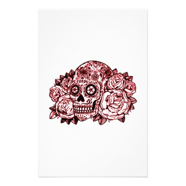 Halloween Themed Skull and Roses Stationery