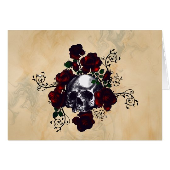 Skull and Roses Tattoo Style Goth Art Card