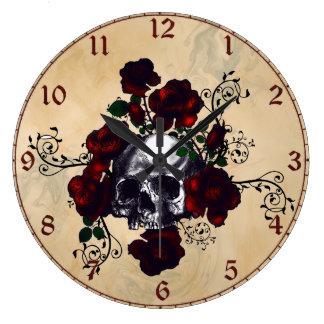 Skull and Roses Tattoo Style Goth Art Clocks