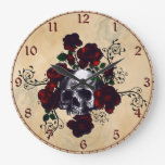 Skull and Roses Tattoo Style Goth Art Clocks