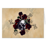 Skull and Roses Tattoo Style Goth Art Greeting Card