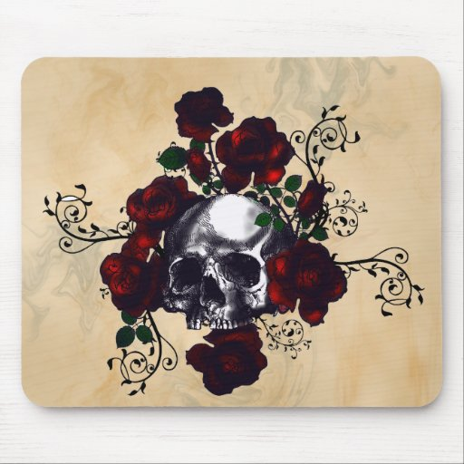 Skull and Roses Tattoo Style Goth Art Mouse Pads