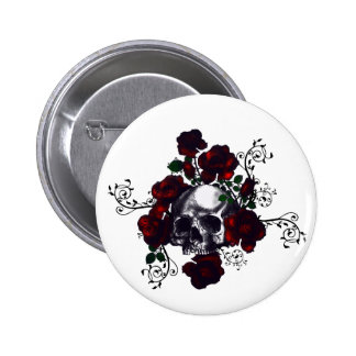 Skull and Roses Tattoo Style Goth Art Pinback Button