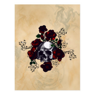 Skull and Roses Tattoo Style Goth Art Postcard