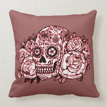 Halloween Themed Skull and Roses Throw Pillow
