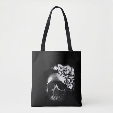 Halloween Themed Skull and roses tote bag