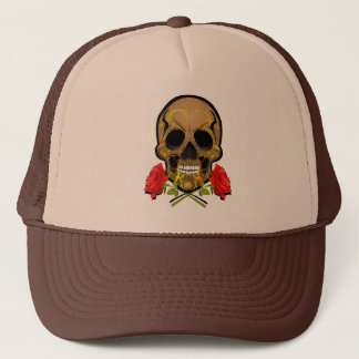 skull and roses trucker hat