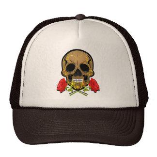 skull and roses trucker hat