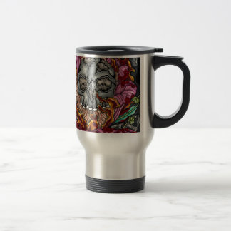 Skull and roses with a burning hand travel mug