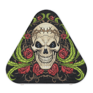 Skull and Roses with Crown Of Thorns by Al Rio Bluetooth Speaker