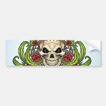 skull, skulls, rose, roses, thorn, thorns, red, green, symmetrical, design, al rio, Bumper Sticker with custom graphic design