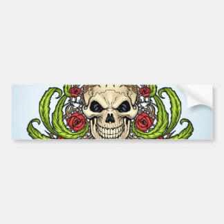Skull and Roses with Crown Of Thorns by Al Rio Bumper Sticker
