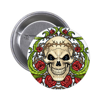 Skull and Roses with Crown Of Thorns by Al Rio Pinback Button