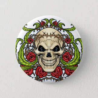 Skull and Roses with Crown Of Thorns by Al Rio Button