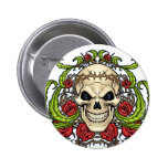 Skull and Roses with Crown Of Thorns by Al Rio Pinback Buttons