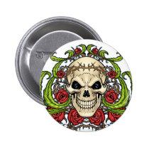 skull, skulls, rose, roses, thorn, thorns, red, green, symmetrical, design, art, al rio, vampires, Button with custom graphic design