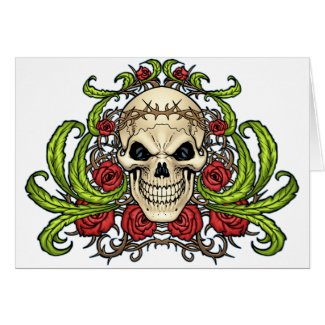 Skull and Roses with Crown Of Thorns by Al Rio zazzle_card