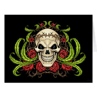 Skull and Roses with Crown Of Thorns by Al Rio Cards
