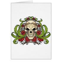 skull, skulls, rose, roses, thorn, thorns, red, green, symmetrical, design, art, al rio, vampires, Card with custom graphic design