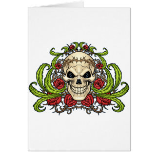 Skull and Roses with Crown Of Thorns by Al Rio Greeting Card