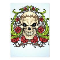 skull, skulls, rose, roses, thorn, thorns, red, green, symmetrical, design, al rio, Invitation with custom graphic design