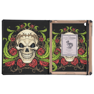 Skull and Roses with Crown Of Thorns by Al Rio Covers For iPad
