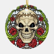 skull, skulls, rose, roses, thorn, thorns, red, green, symmetrical, design, al rio, Ornament with custom graphic design