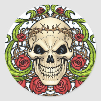 Skull and Roses with Crown Of Thorns by Al Rio Classic Round Sticker
