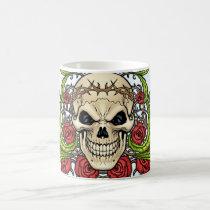 skull, skulls, rose, roses, thorn, thorns, red, green, symmetrical, design, al rio, Caneca com design gráfico personalizado