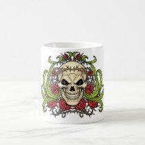 skull, skulls, rose, roses, thorn, thorns, red, green, symmetrical, design, art, al rio, vampires, Mug with custom graphic design