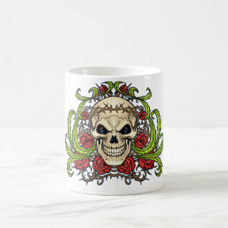 Skull and Roses with Crown Of Thorns by Al Rio Coffee Mug