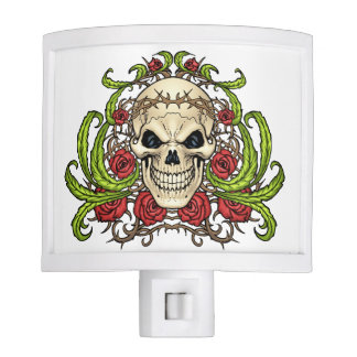 Skull and Roses with Crown Of Thorns by Al Rio Nite Lite