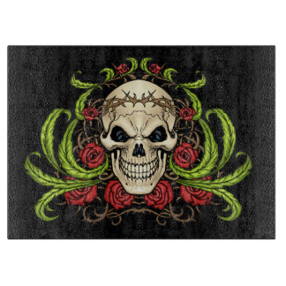 Skull and Roses with Crown Of Thorns by Al Rio Cutting Boards